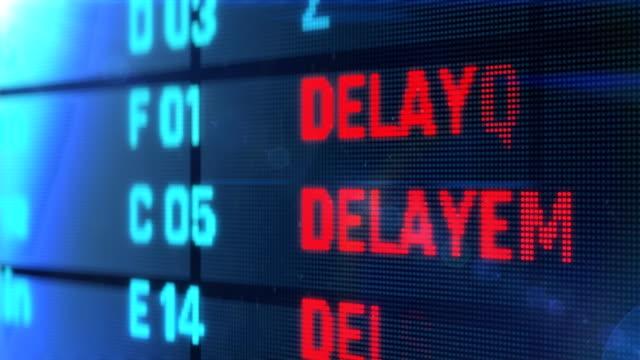 flights delayed and canceled on departure arrival board, air transportation - табло вылетов и прилётов стоковые видео и кадры b-roll