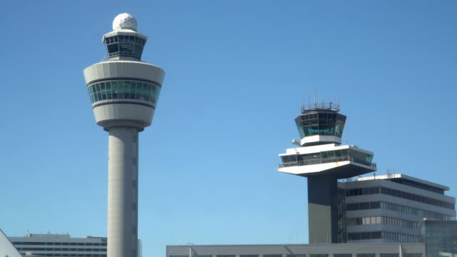 flights management air control tower and passenger terminal - dutch architecture stock videos & royalty-free footage