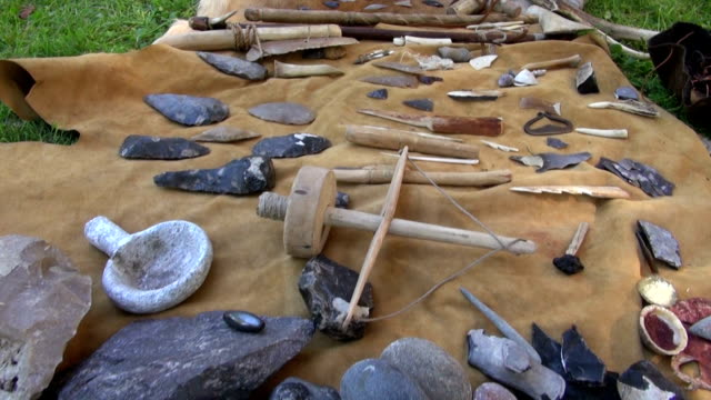Flint and wooden tools and weapons video
