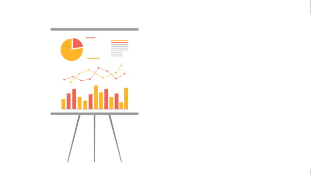 Flip chart, Chart board, Motion Graphics.  Business growth Financial chart cartoon infographic animation.