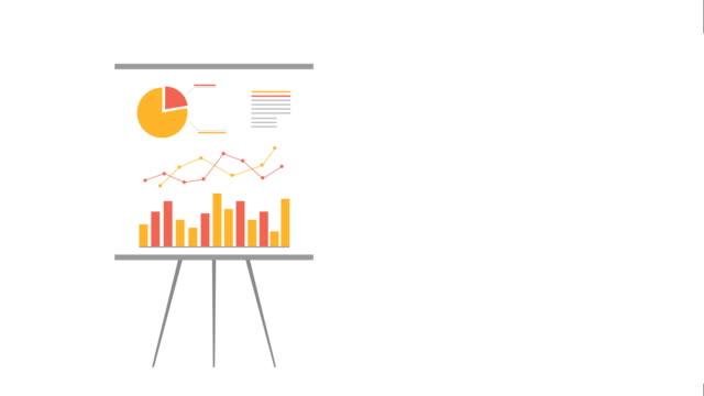 フリップチャート、チャートボード、モーショングラフィックス。 ビジネスの成長金融チャート漫画のインフォグラフィックアニメーション。 - アイコン点の映像素材/bロール