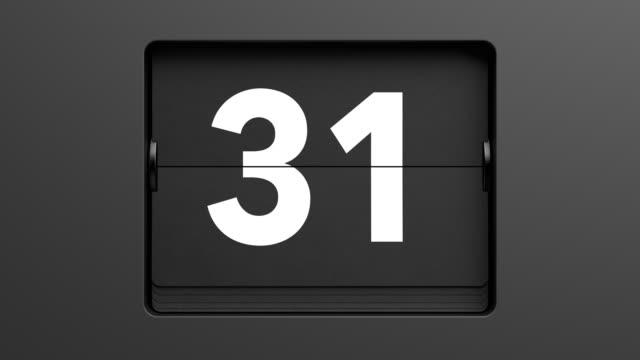 przerzucać zegar szybko przez liczby od 1 do 31. pętli - data filmów i materiałów b-roll