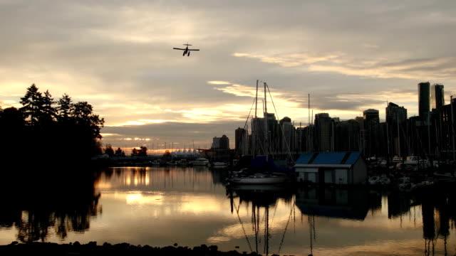 amfibieplan landning i vancouver stanley park på morgonen - strandnära bildbanksvideor och videomaterial från bakom kulisserna