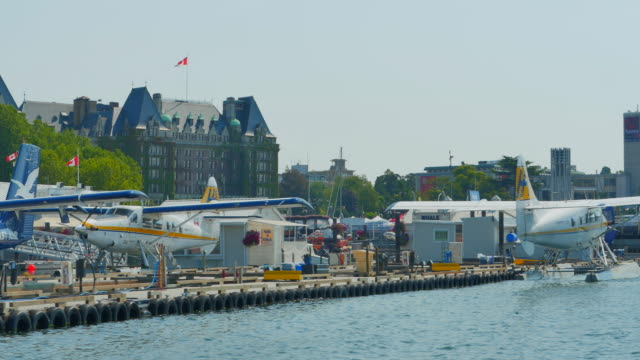 Float Planes in Harbor, Tracking Shot, Victoria BC Canada video