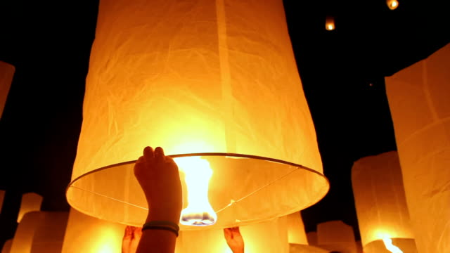 floating asian lanterns in Chiang Mai ,Thailand video