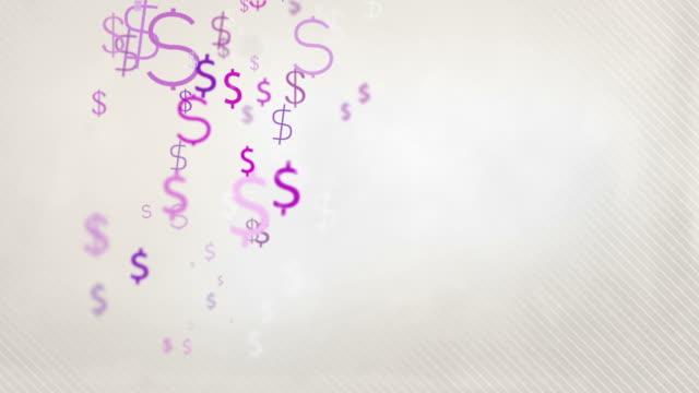Floating Dollar Symbols Background Loop - Pastel Pink HD video