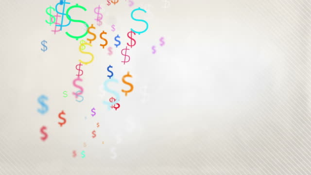 Floating Dollar Symbols Background Loop - Pastel Rainbow HD video