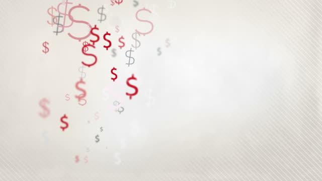 Floating Dollar Symbols Background Loop - Pastel Red & Black HD video