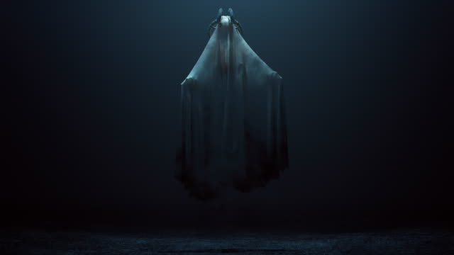 Floating Evil Spirit with Silver Horns in a foggy void