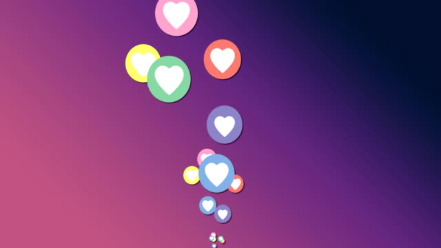 Floating heart icons 4k
