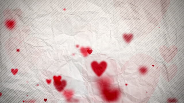 Floating Hearts Background Loop - On White Paper (Full HD) video