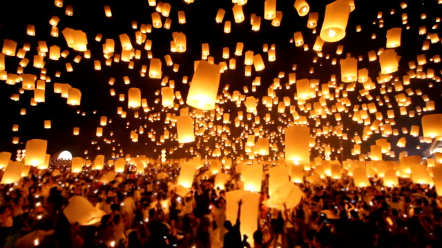Floating lantern in Yee Peng Festival. video