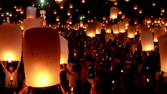 Floating lantern with crowd video