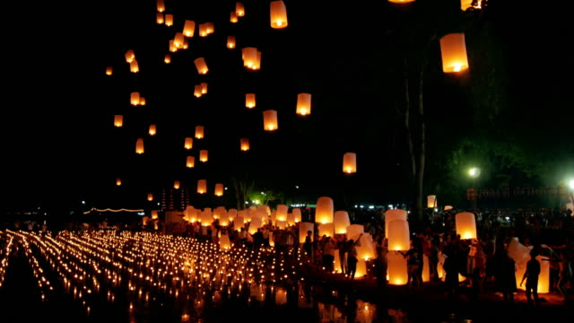 Floating lantern , Yee Peng Festival , Chiangmai Thailand , Time Lapse movement video