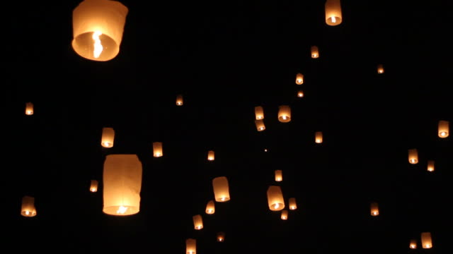 Floating lanterns in Loy Krathong celebration in Chiangmai, Thailand. video