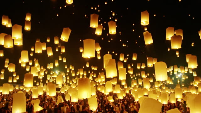 Floating Lanterns in Night Sky.