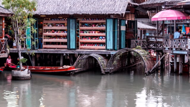 Floating Market Village TIME LAPSE TIMELAPSE : Full HD : NTSC  pattaya stock videos & royalty-free footage