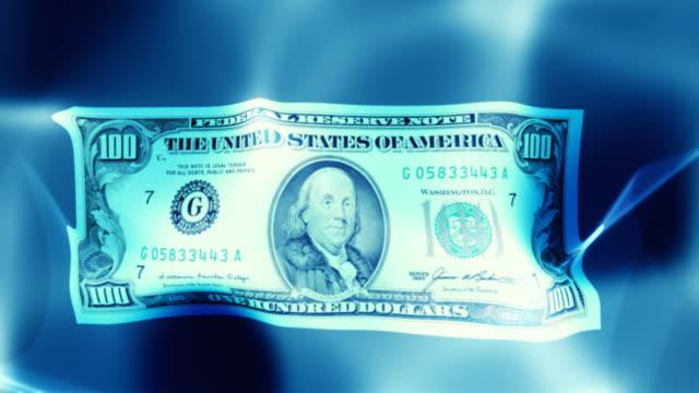 Floating money, dollar. Loop video