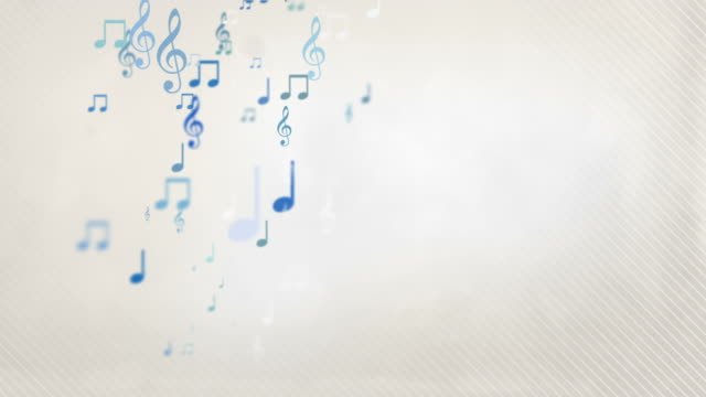 vídeos de stock e filmes b-roll de flutuante notas musicais-azul pastel (full hd - nota