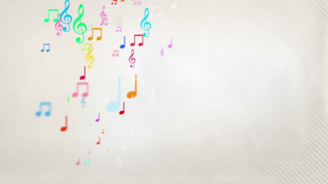 vídeos de stock e filmes b-roll de flutuante notas musicais-arco-íris (full hd - nota