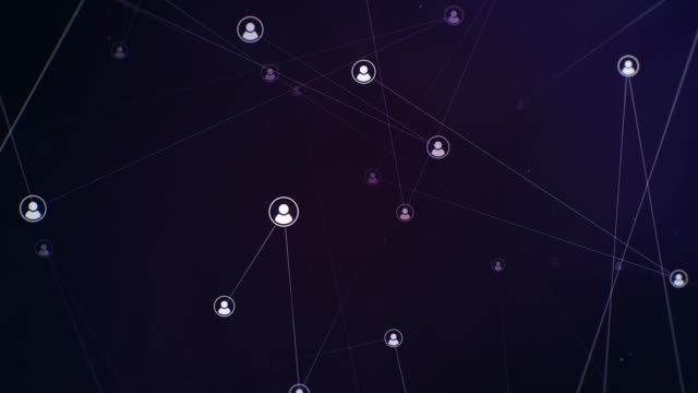 Floating Profile Pictures on Dark Purple Background Seamlessly looping rotating plexus social connections. Animated backdrop. digital marketing stock videos & royalty-free footage