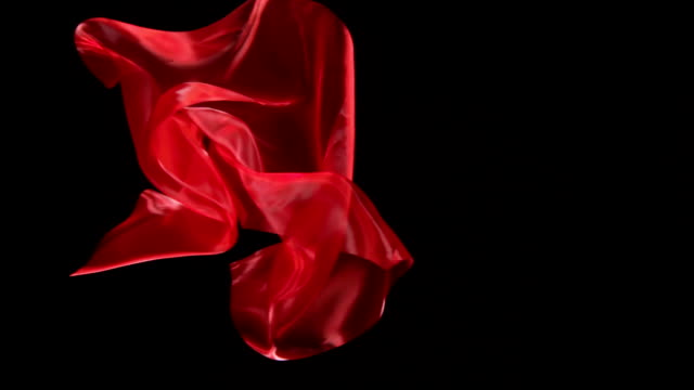 SLOW-MO: Floating silk on black background video
