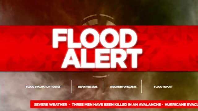 flood alert broadcast tv graphics title - niebezpieczeństwo filmów i materiałów b-roll