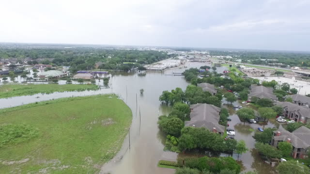 Flooded aprtments and business near Houston Texas video