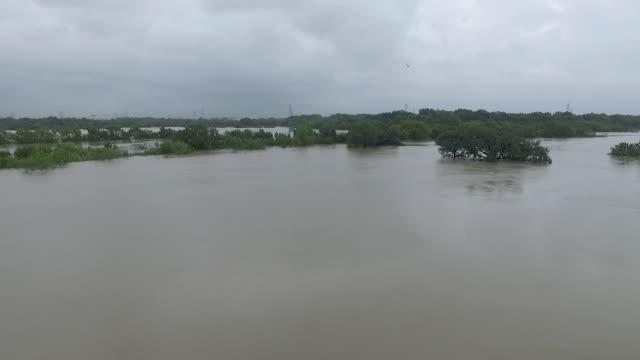 Flooded Clear Creek near Houston Texas video