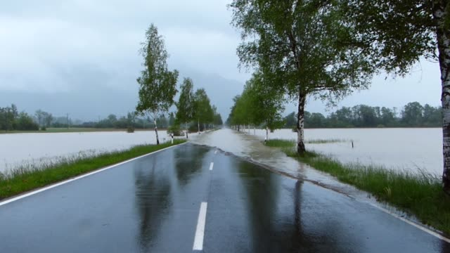 Flooded road in rain