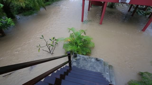 Flooding and tropical rain on the street in Thailand video