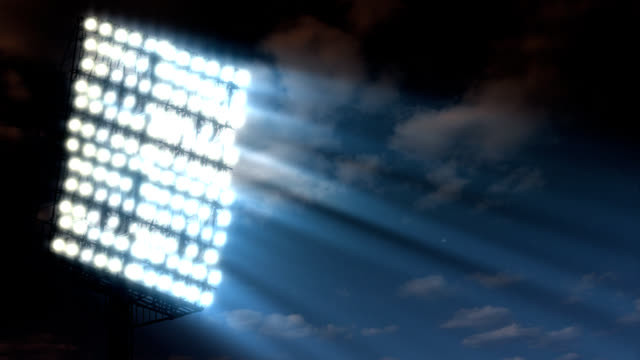 Floodlight and fragment of soccer arena