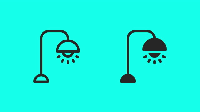 icone lampada da terra - vector animate - full hd format video stock e b–roll