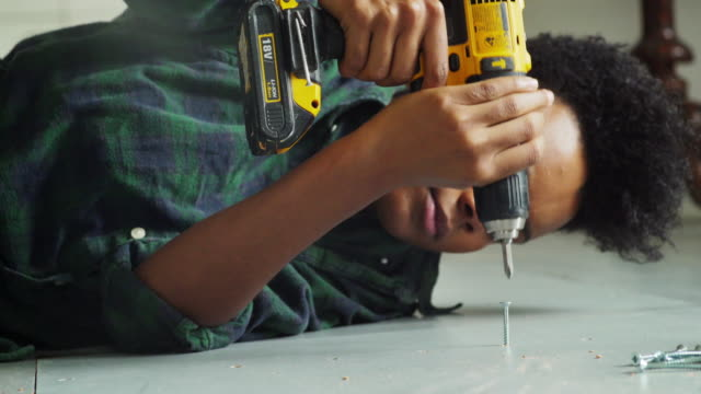 DIY floor woman close video