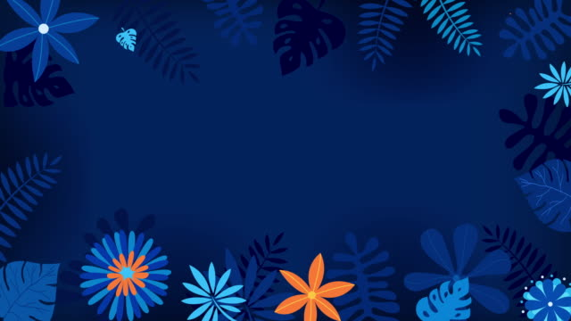 Floral Blue Background Blooming flowers background for spring season  design with classic blue and orange colors floral pattern stock videos & royalty-free footage