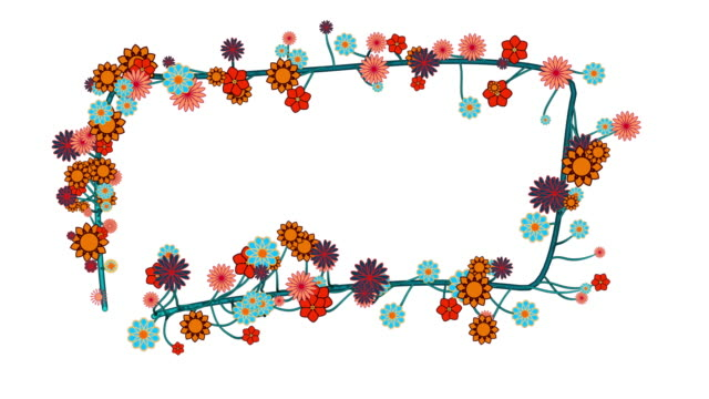 Floral decorative pattern animation Nr. 18, decorative picture frame of flowers Colorful beautiful flowers are growing along a path. Use the included luma matte to create unique designs. Combine with the other floral patterns, create corner frames and decorations for your text and titles. floral pattern stock videos & royalty-free footage