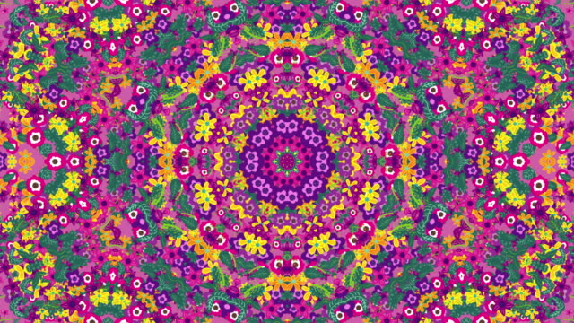 vídeos de stock e filmes b-roll de floral symmetric pattern background - mandala