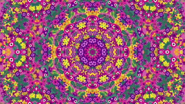 floral symmetric pattern background - мандала стоковые видео и кадры b-roll