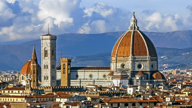 Florence and Cathedral Santa Maria del Fiore, evening, Florence, Italy. Clouds, time-lapse. video