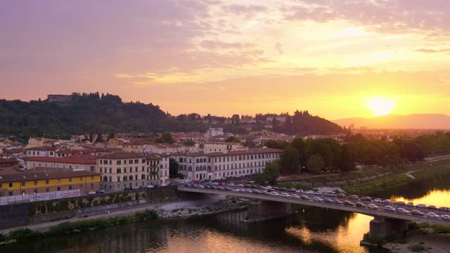 Florence italy city skyline at sunset