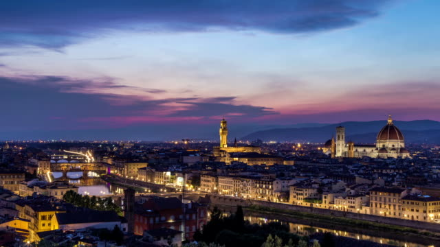 Florence Italy HD Time lapse sunset topview video