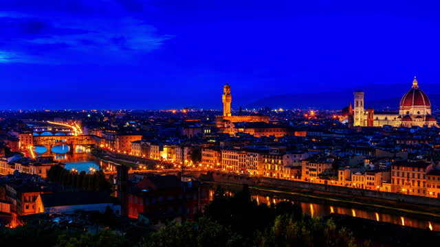 Florence or Firenze sunset aerial cityscape from day to night