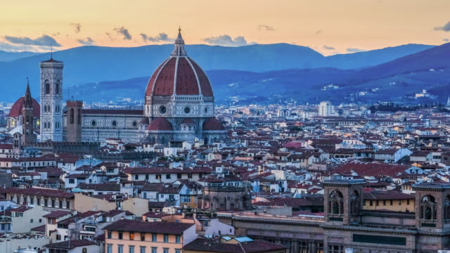 4K Florence skyline Tuscany Italy Cathedral of Santa Maria del Fiore Time-lapse sunset video