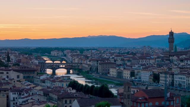 Florence summer sunset panoramic skyline view of Ponte Vecchio, Palazzo Vecchio, Tuscany, Italy, timelapse 4K