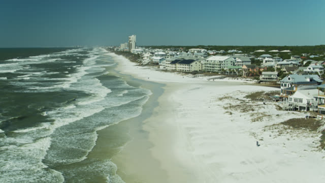 Florida Gulf Coast Beaches and Houses Along Highway 30A - Aerial video