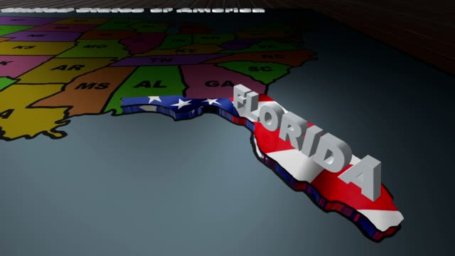 Florida pull out from USA states abbreviations map video
