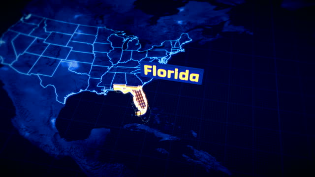US Florida state border 3D visualization, modern map outline, travel US Florida state border 3D visualization, modern map outline, travel florida us state stock videos & royalty-free footage