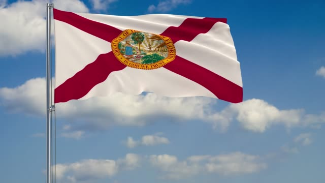 Florida State flag in wind against cloudy sky Flag of Florida - US state fluttering in the wind against a cloudy sky florida us state stock videos & royalty-free footage