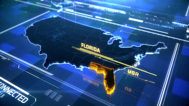 Florida US state border 3D modern map with a name, region outline Florida US state border 3D modern map with a name, region outline florida us state stock videos & royalty-free footage