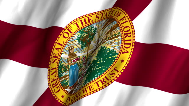 Florida Waving Flag 4K A beautiful satin finish looping flag animation of Florida.    A fully digital rendering using the official flag design in a waving, full frame composition.  The animation loops at 10 seconds. florida us state stock videos & royalty-free footage